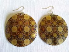 Large circle print shell earrings